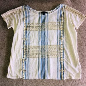 J Crew linen striped embroidered top Sz XS